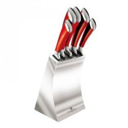 Sada nožov v stojane 6 ks nerez / červená